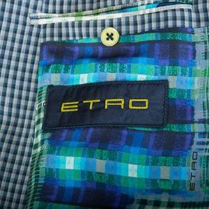 Etro Milano Blue Check Two Button Blazer